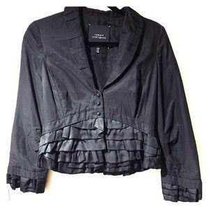 Robert Rodriguez Black Silk Ruffle Blazer